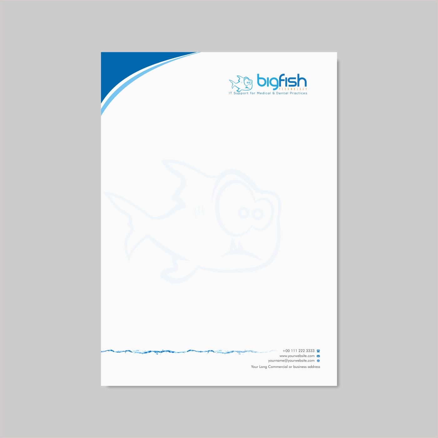 Elegant Playful Letterhead Design For Big Fish Computers