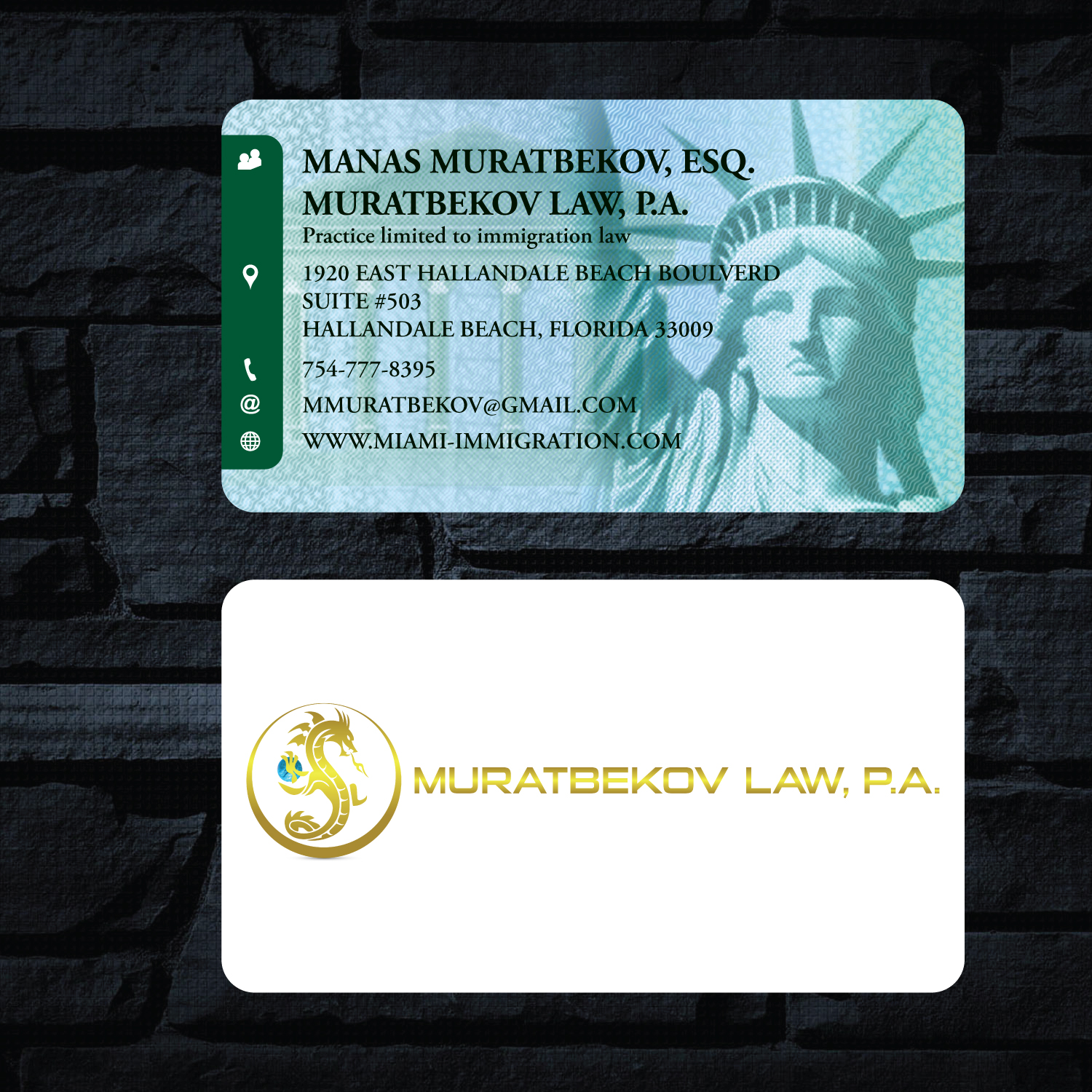 Professional, Masculine Business Card Design for MURATBEKOV LAW ...