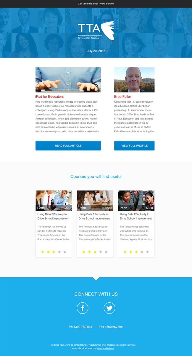 Modern serious newsletter design for tta by buditanrim for Modern newsletter design