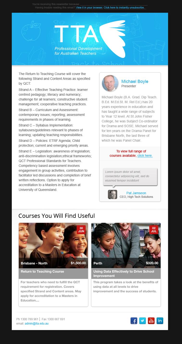 Modern serious newsletter design for tta by nisarzenith for Modern newsletter design