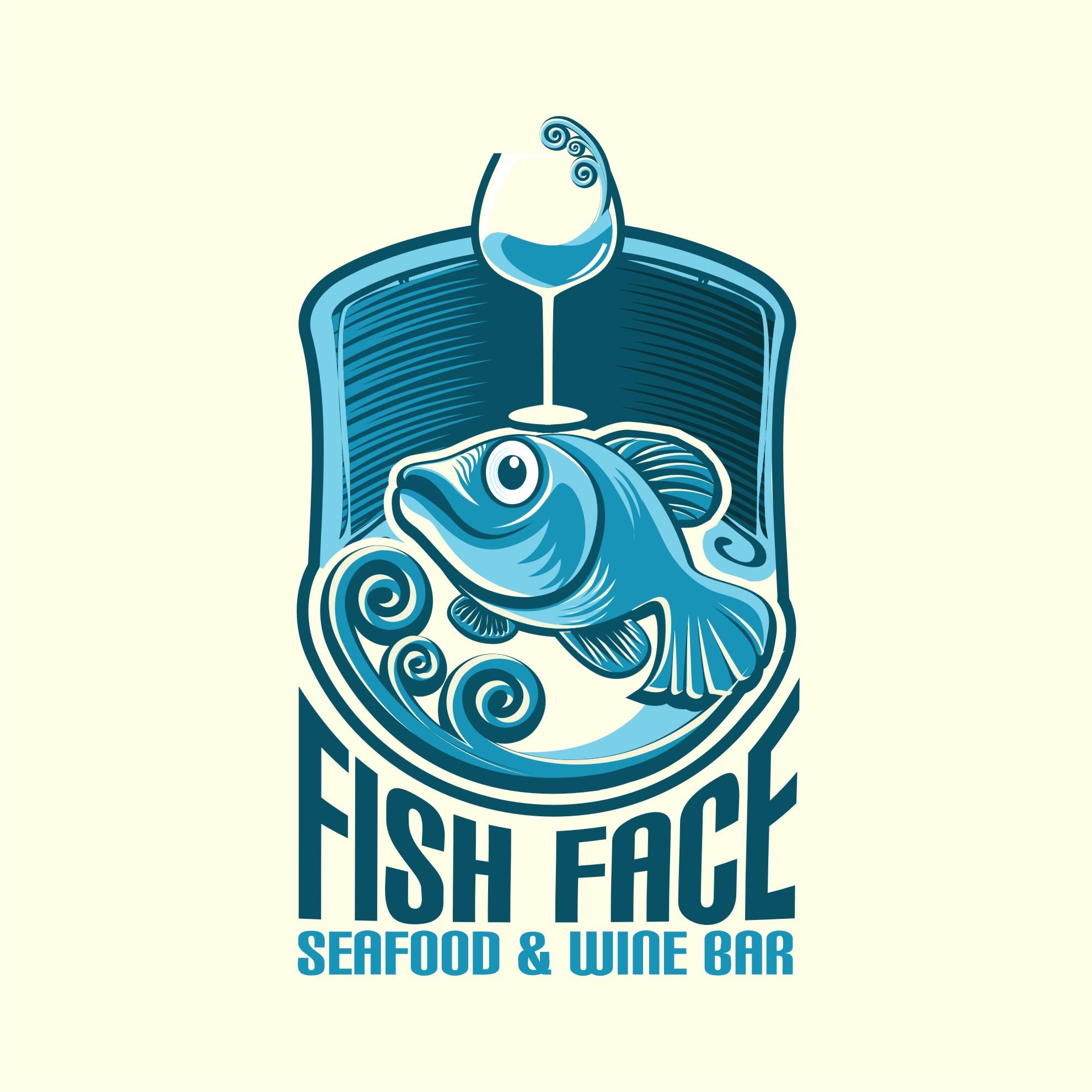 Modern Elegant Seafood Restaurant Logo Design For Fish Face Seafood Wine Bar By Creative Bugs Design 8732330