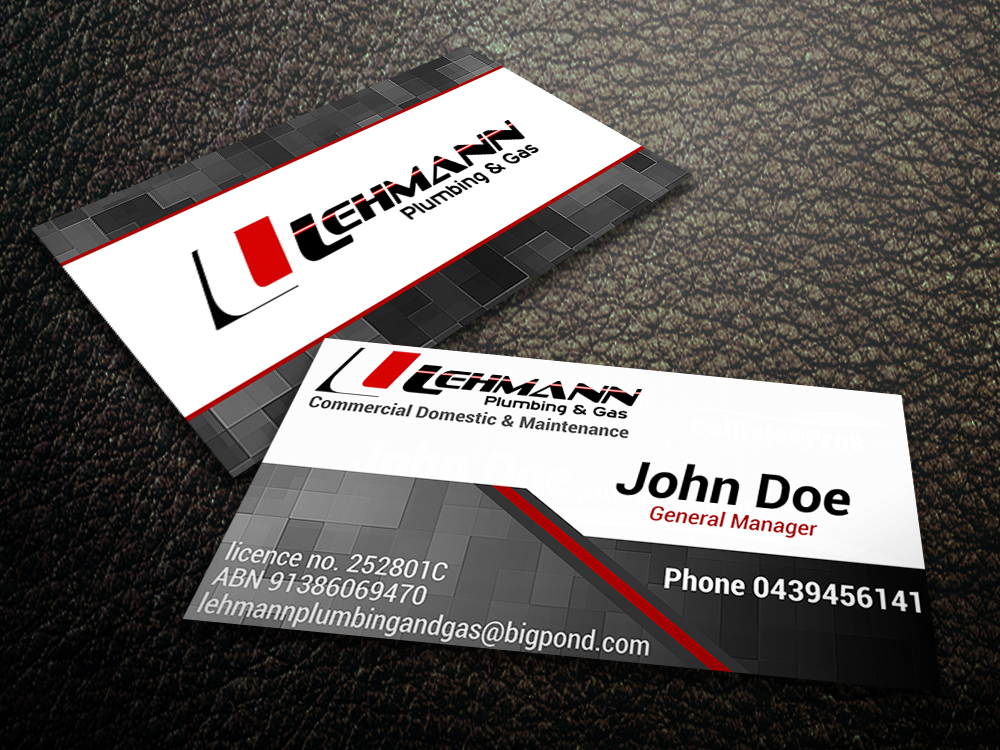Business Business Card Design for Lehmann Plumbing and Gas by ...