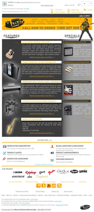 Newsletter Design by Jay - Musical Instrument retailer needs a Newsletter ...