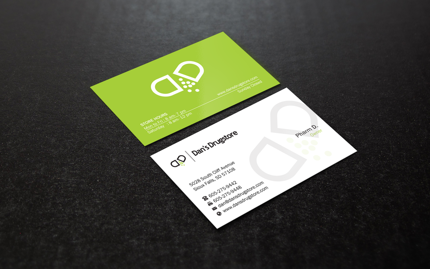 Bold Masculine Pharmacy Business Card Design For A Company By