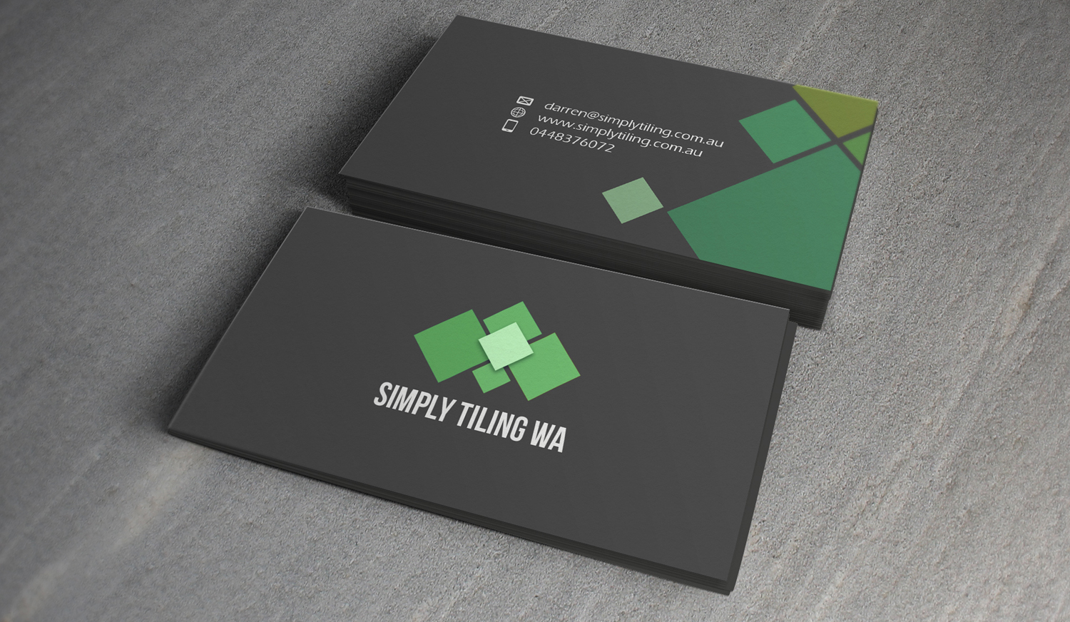 Bold, Professional, Trade Business Card Design for Simply Tiling WA ...