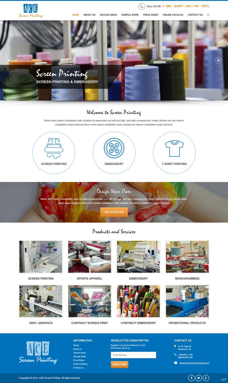 5d7714b9d Bold, Playful, Screen Printing Web Design for ACE Screen Printing in United  States | Design 9210677