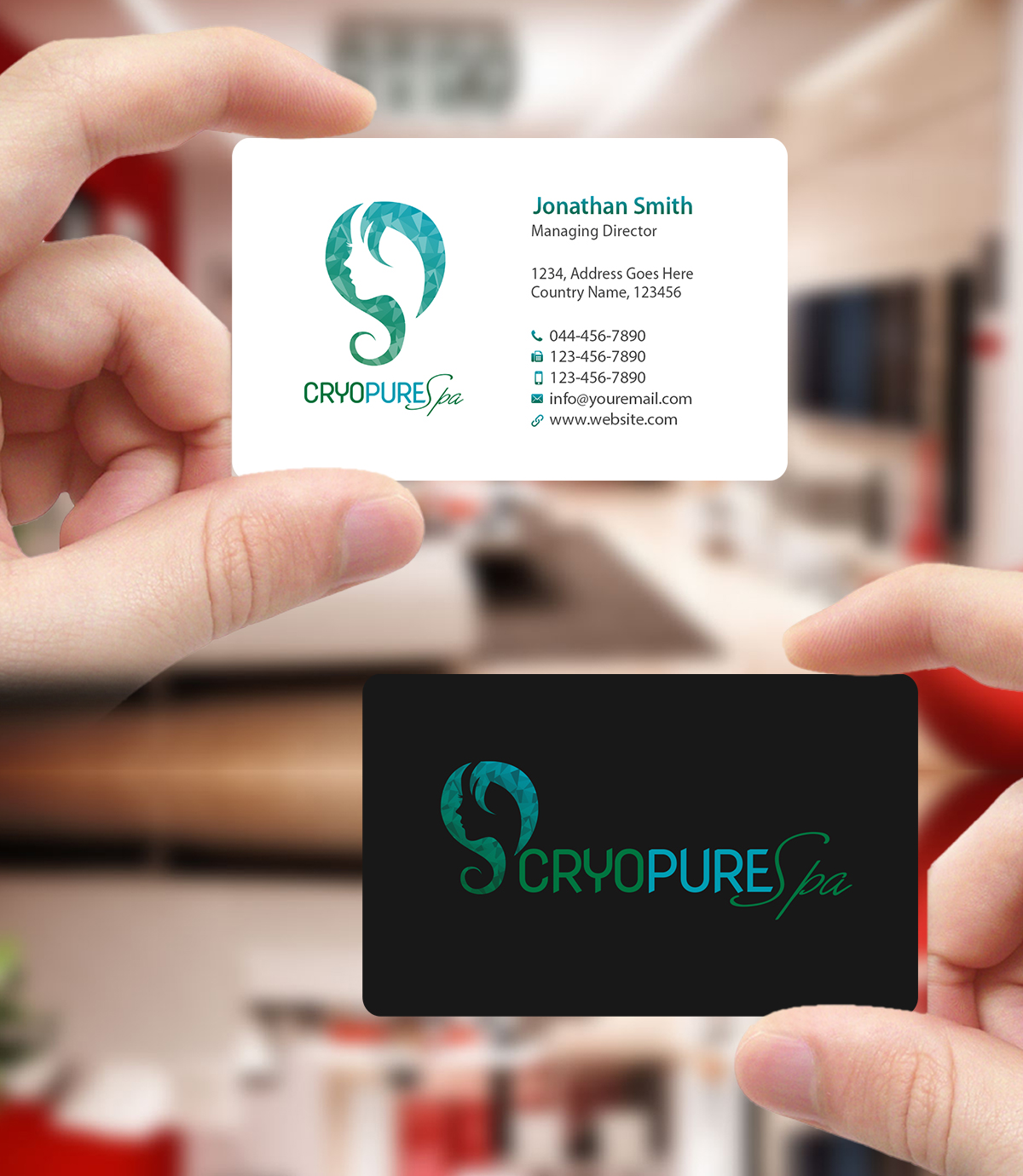 Elegant playful business business card design for cryopure spa business card design by creations box 2015 for cryopure spa llc design reheart Choice Image