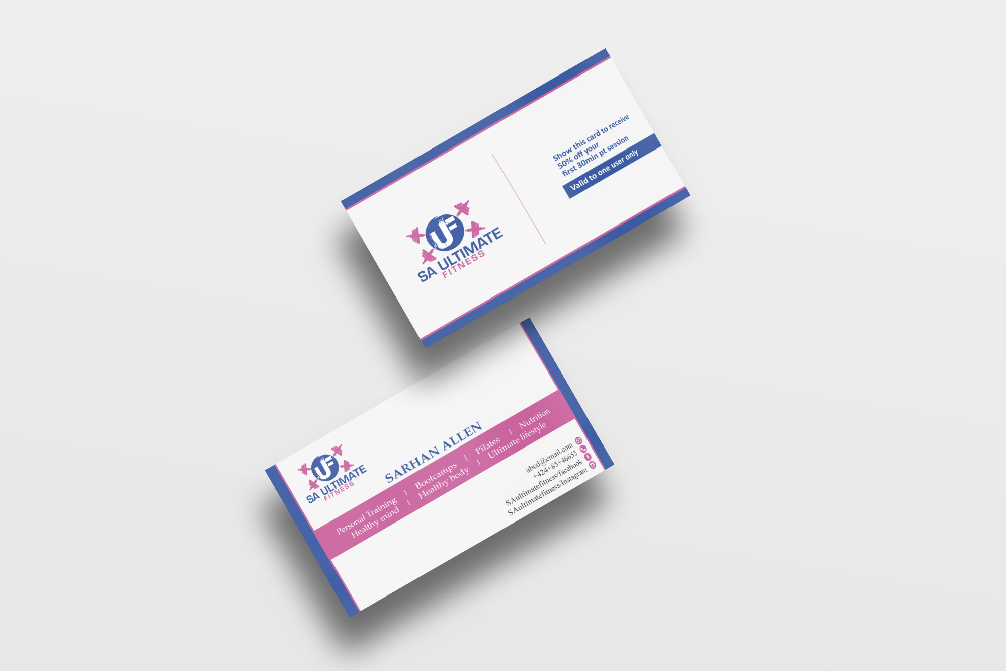 bold colorful business card design for sa ultimate fitness by