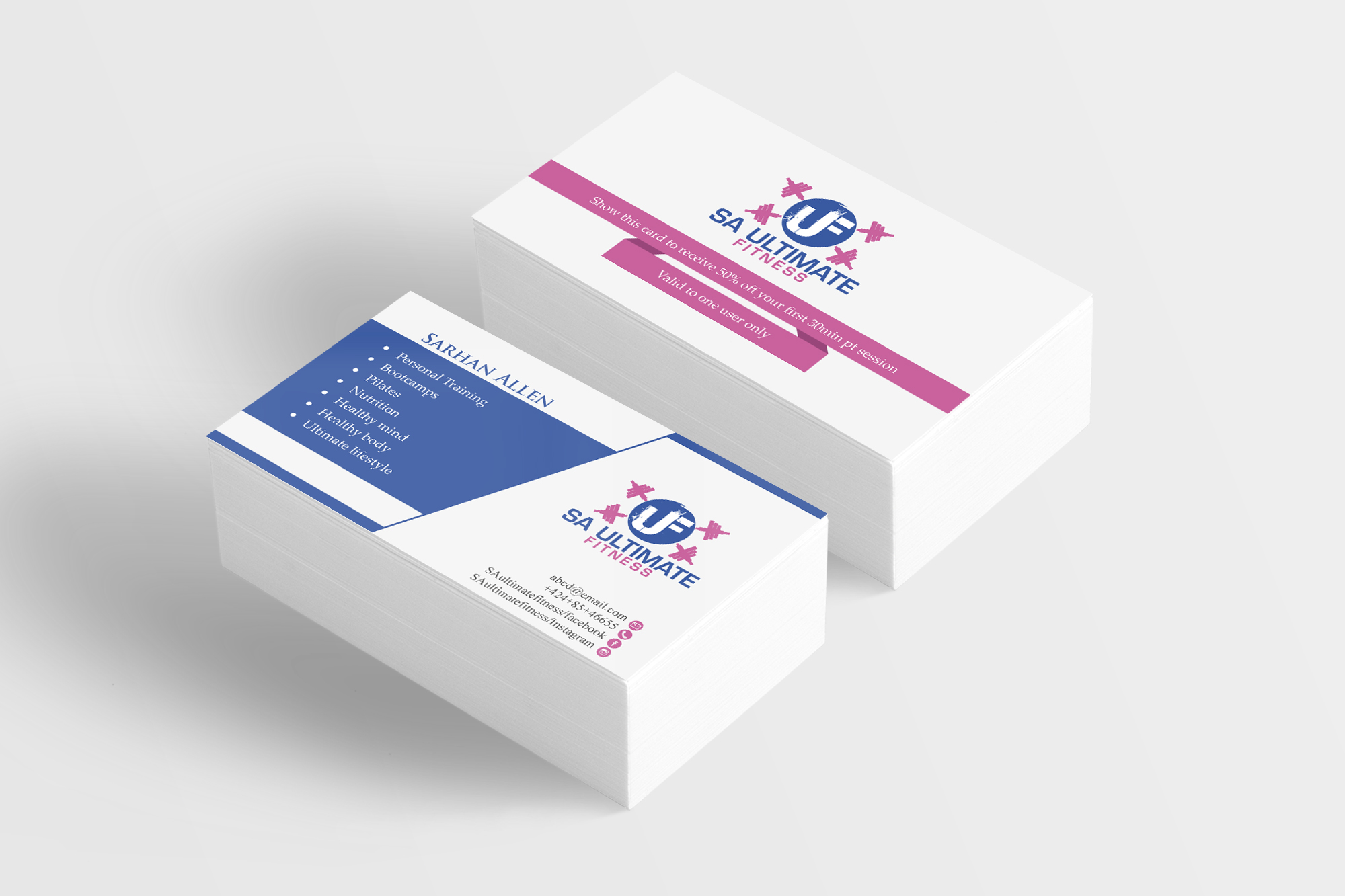 Bold, Colorful Business Card Design for SA Ultimate Fitness by GoMedia ...