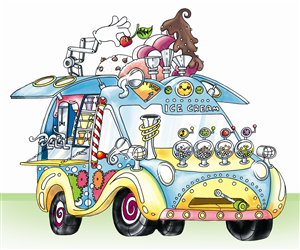 Illustration Design by Ingrid Jones - Concept Drawings For New Mobile Ice Cream Business