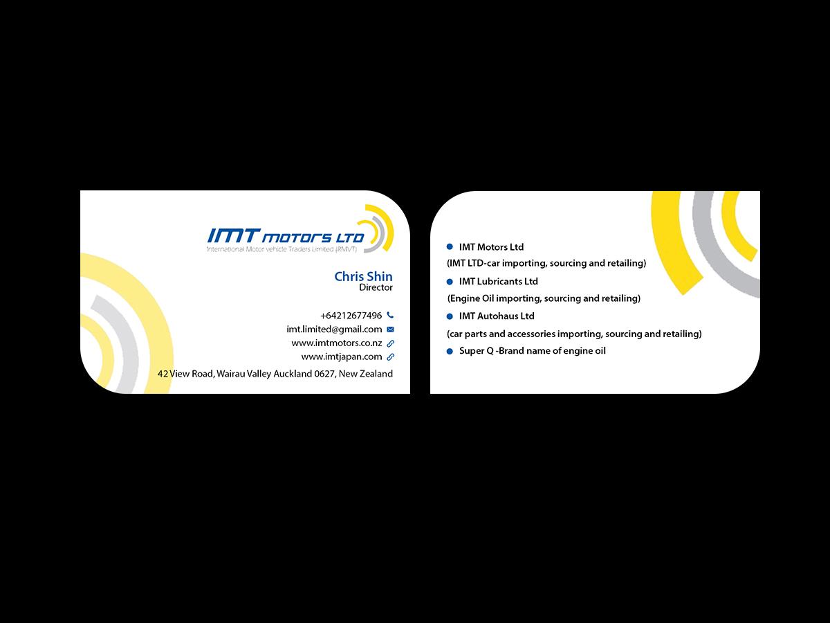 Professional, Upmarket, Car Dealer Business Card Design for IMT Ltd ...