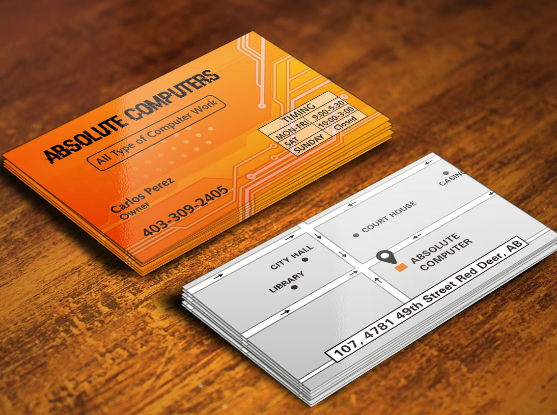 Bold modern business card design for pressed art by poonam gupta business card design by poonam gupta for computer repair shop needs bold business card design reheart Images