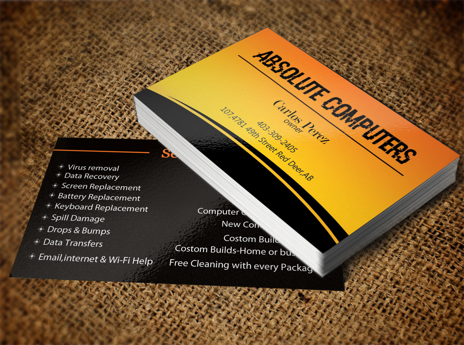 Bold, Modern, Computer Repair Business Card Design for Pressed Art ...