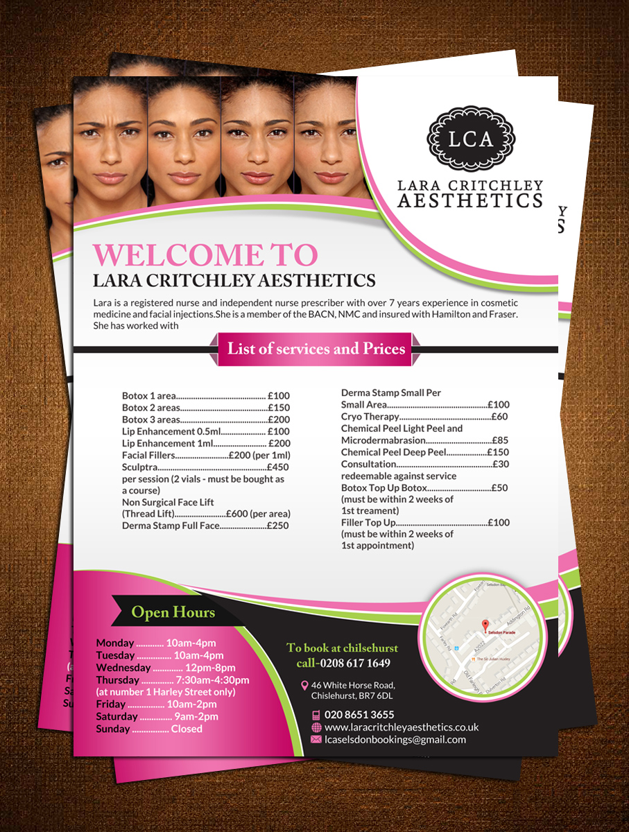 elegant playful clinic flyer design for lca by creative bugs