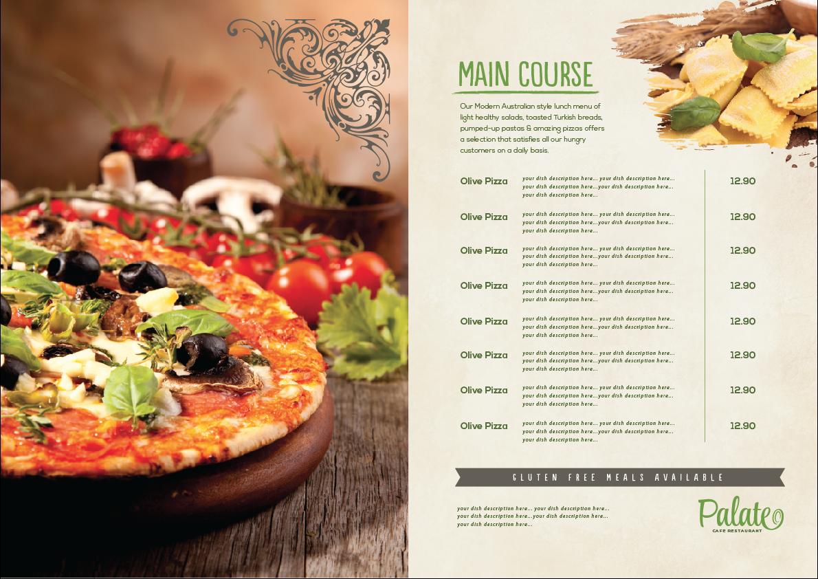 Elegant playful menu design for ca phe holdings