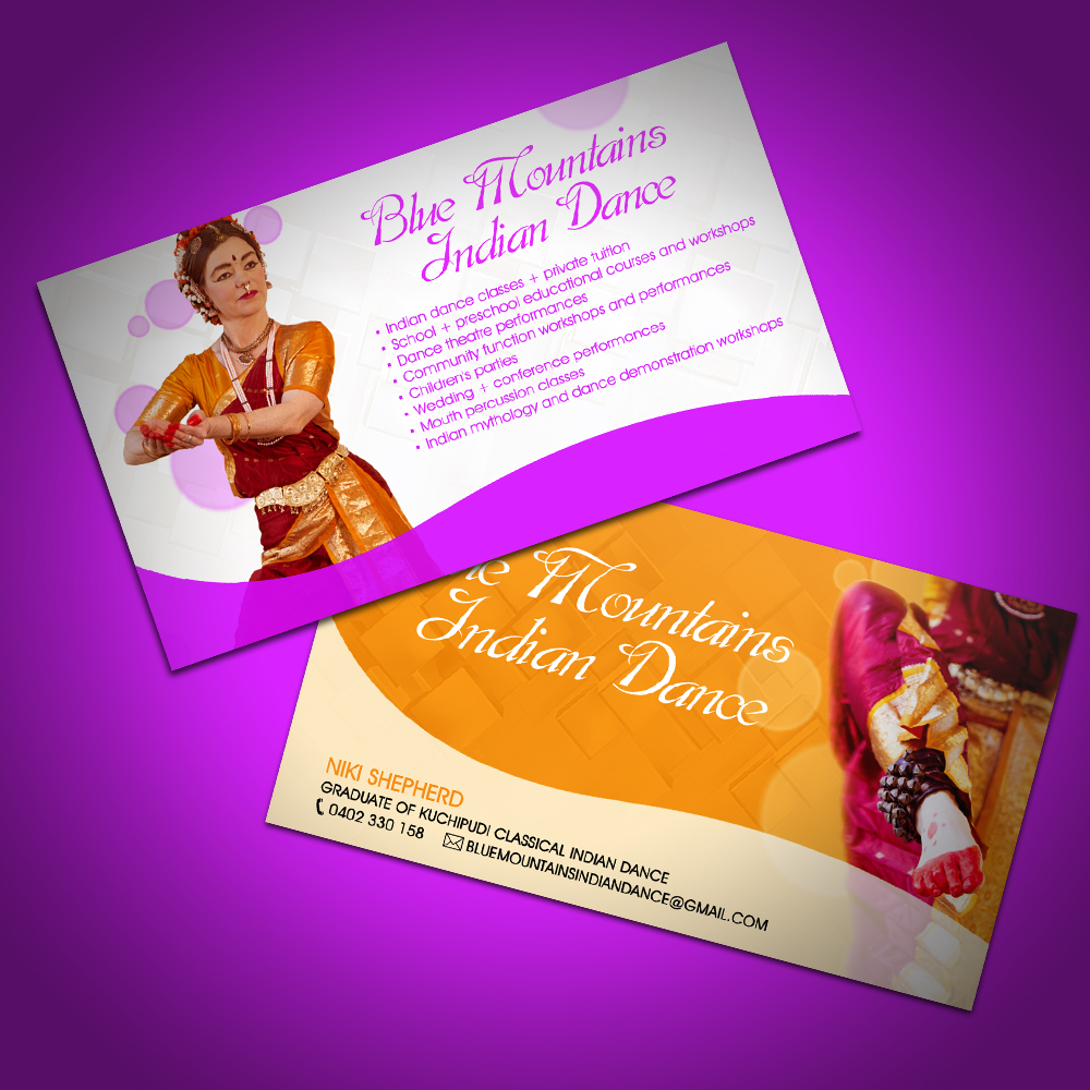 Business Card Design By Dirty Emm For Blue Mountains Indian Dance 422095