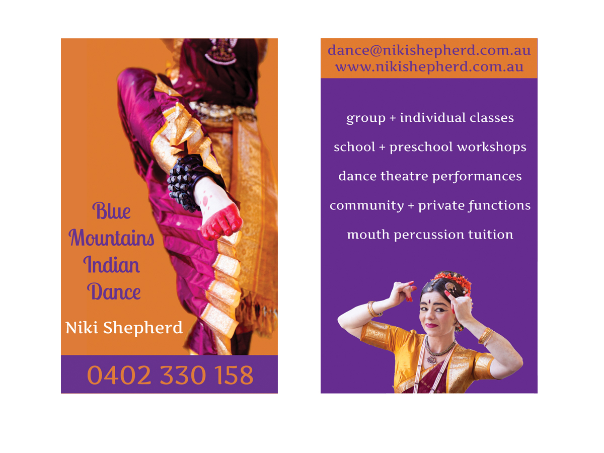Colorful elegant business card design for niki shepherd by brown business card design by brown design for blue mountains indian dance design 435972 reheart Images