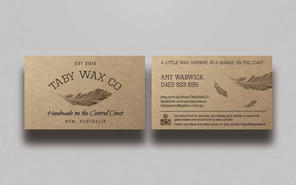 Elegant playful business card design for taby wax co by mtbosh business card design by mtbosh for business card for a candle company creative hipster magicingreecefo Images