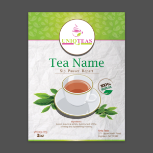 Modern Label for Loose Tea pouches on 4 5x6 Label | 63
