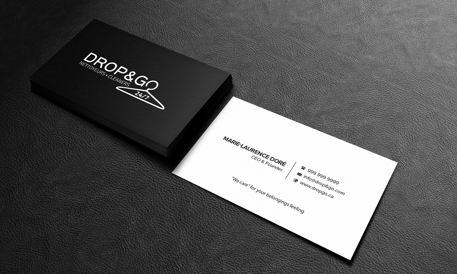 modern professional dry cleaning business card design for drop go