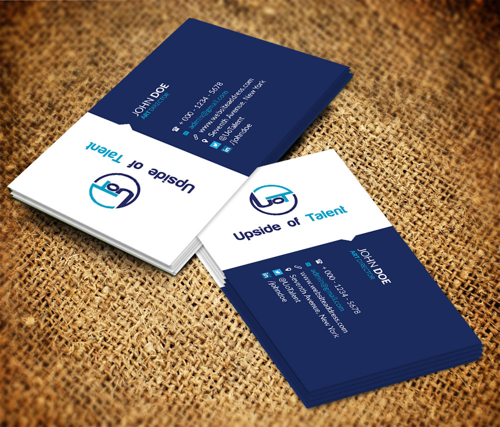 Modern, Upmarket Business Card Design for Upside of Talent by Feel ...