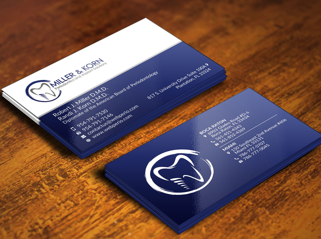 Bold professional dental business card design for miller korn business card design by poonam gupta for miller korn periodontics and implant solutions design reheart Choice Image