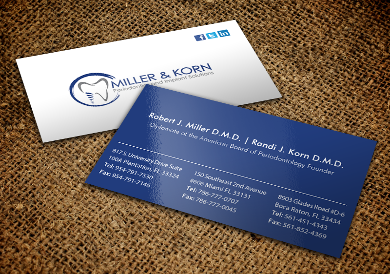 Bold professional dental business card design for miller korn bold professional dental business card design for miller korn periodontics and implant solutions in united states design 9380647 reheart Choice Image