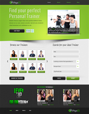 Web Design by tinthumb - PhysIQ Website Design Project