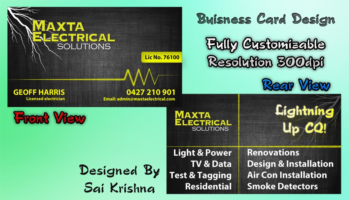 Business card design for maxta electrical solutions by sai krishna business card design by sai krishna for business card design project for electrical company design magicingreecefo Gallery