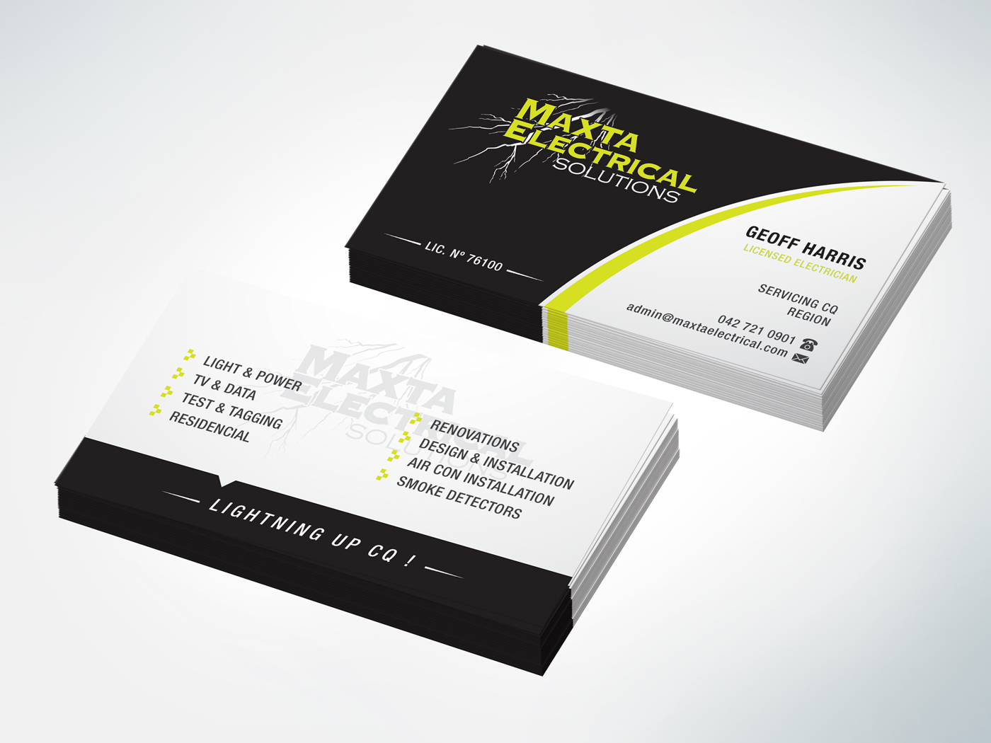 Business card design for maxta electrical solutions by edgar1van business card design by edgar1van for business card design project for electrical company design magicingreecefo Images