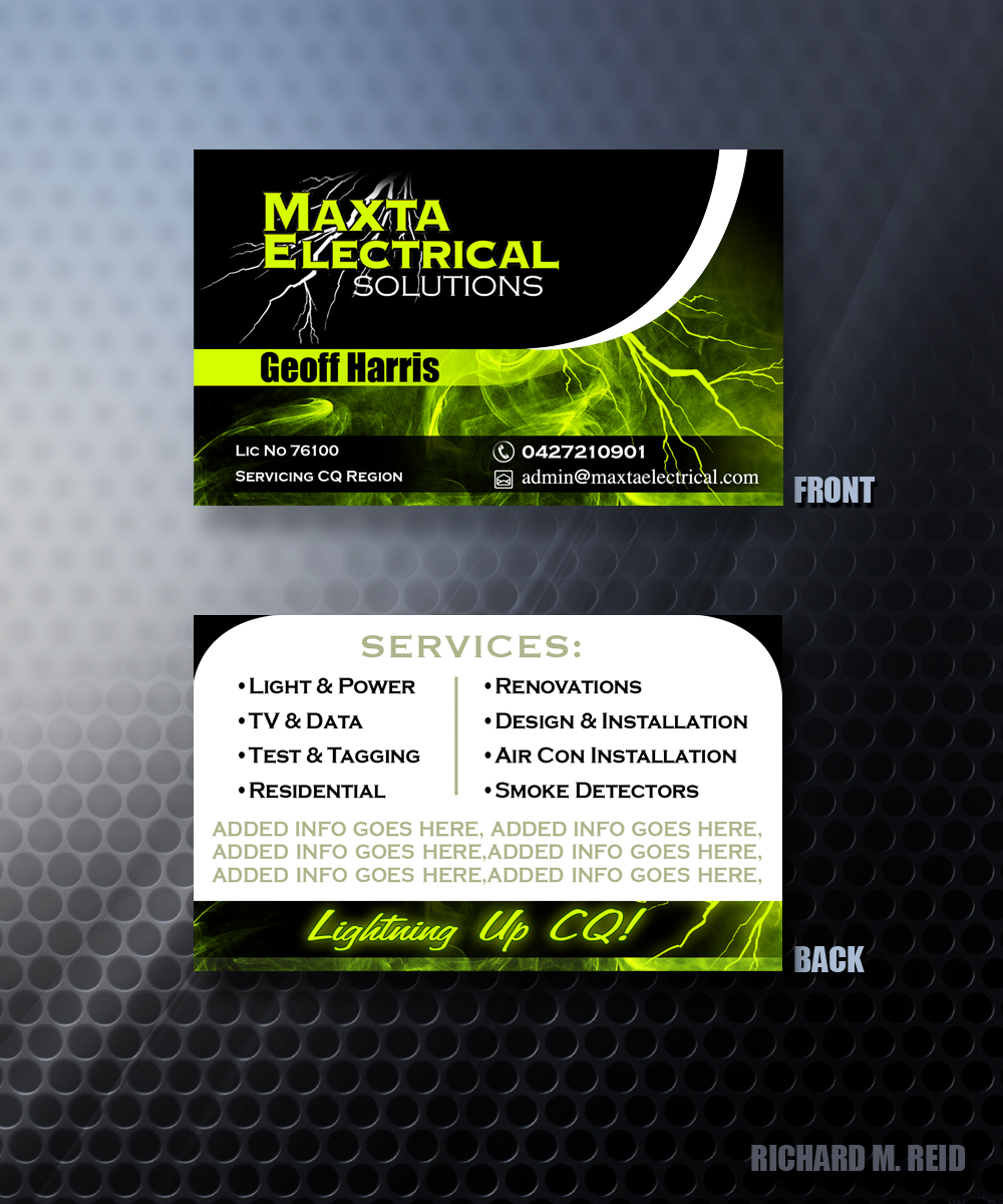 Business Card Design For Maxta Electrical Solutions By Vivid