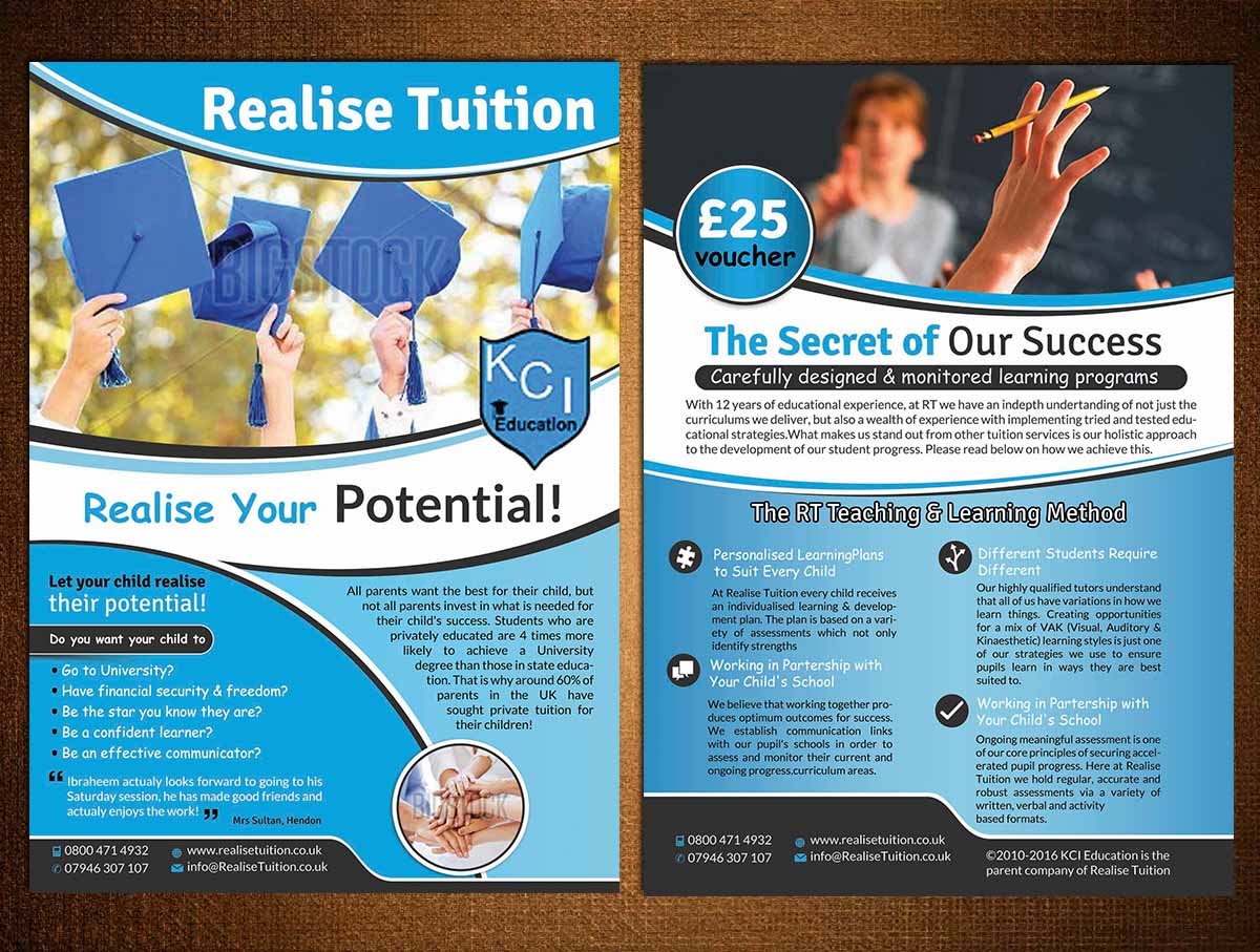 upmarket playful education flyer design for realise tuition by
