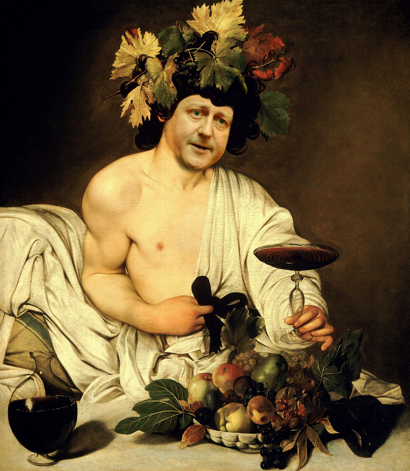 David Cameron in and as Bacchus by Baroque painter Carravagio