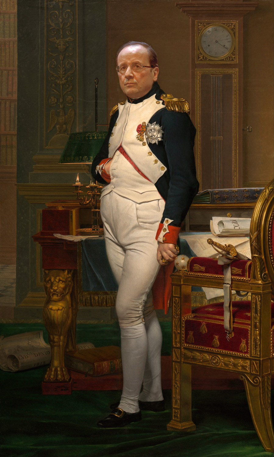 Francois Hollande as The Emperor Napoleon in His Study at the Tuileries