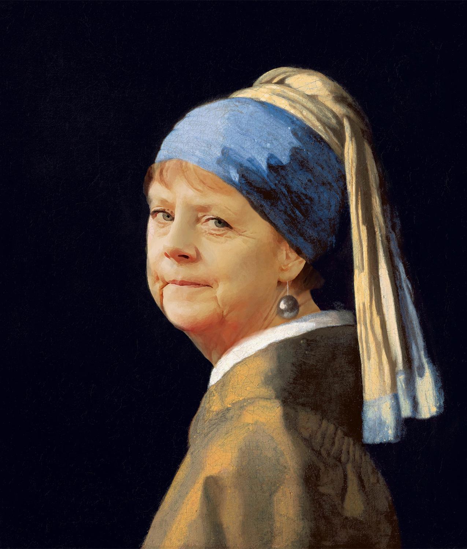 Angela Merkel as Girl with a Pearl Earring