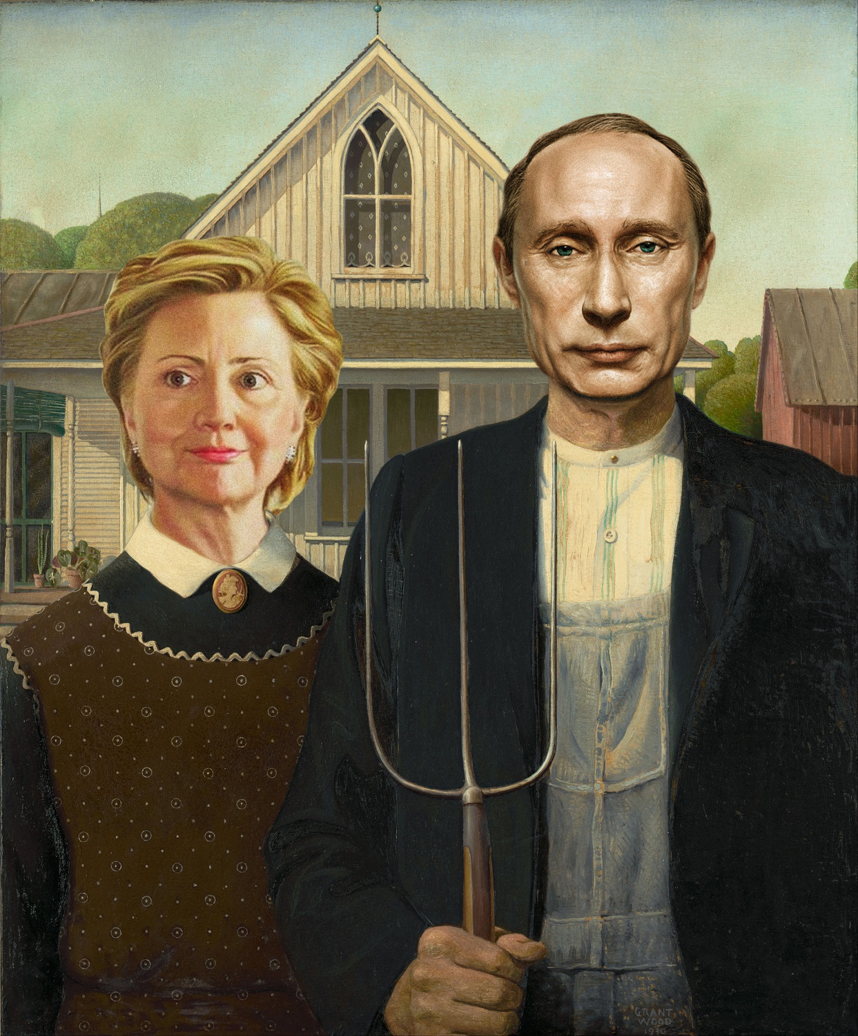 Vladimir Putin and Hillary Clinton in American Gothic