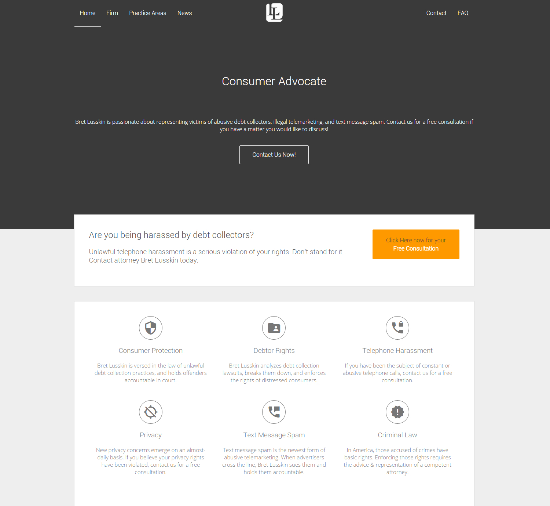 Modern masculine web design for bret lusskin pa by for Masculine web design