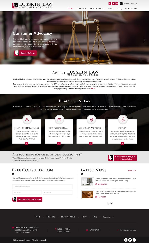 Modern, Masculine, Law Firm Web Design for Bret Lusskin PA by Sbss
