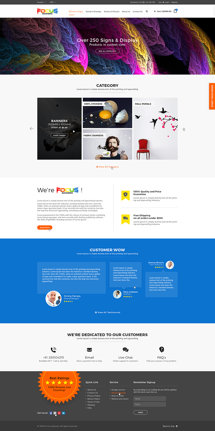 Modern, Elegant, Printing Wordpress Design for Focus Banners by Ved