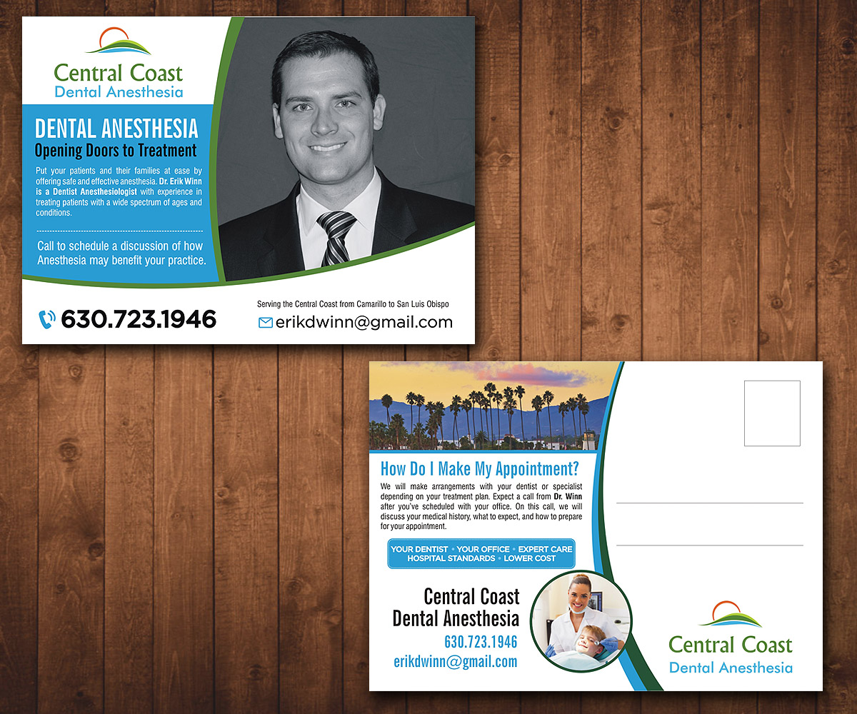 Dental Postcard Design for Central Coast Dental Anesthesia by