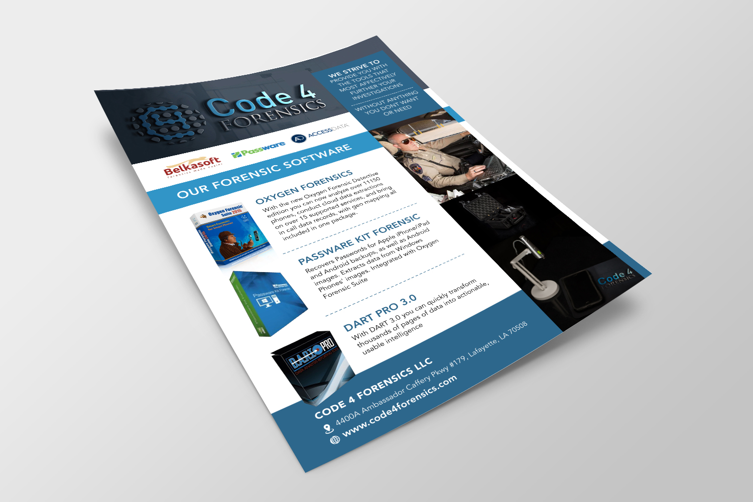 Elegant, Playful, It Company Flyer Design for Code 4