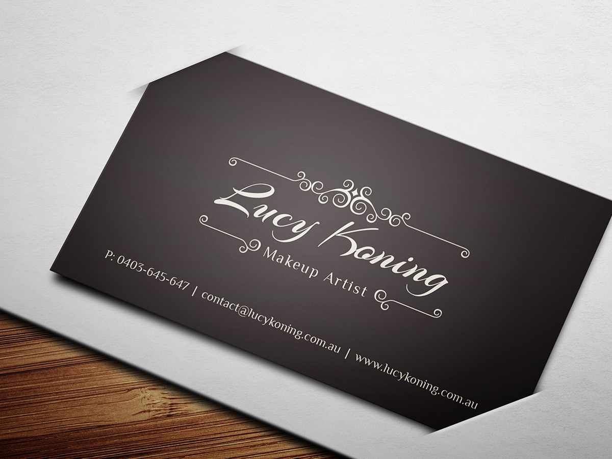 Serious modern business card design for lucy koning by brandwar business card design by brandwar for makeup artist requires business card design design 2072617 alramifo Image collections