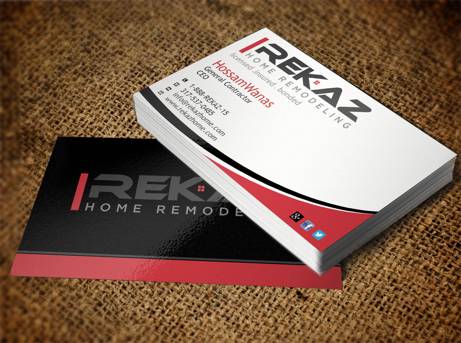 Business card design for rekaz llc by pawana design 9563107 business card design by pawana for home remodeling company needs a business card design design magicingreecefo Image collections