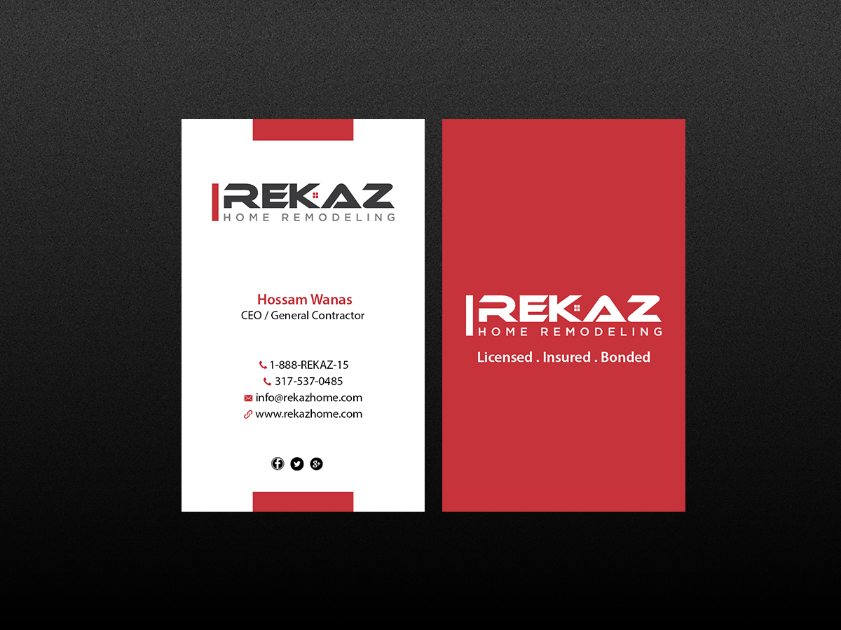 Home remodeling business cards choice image free business cards business card design for rekaz llc by creations box 2015 design business card design by creations magicingreecefo Image collections