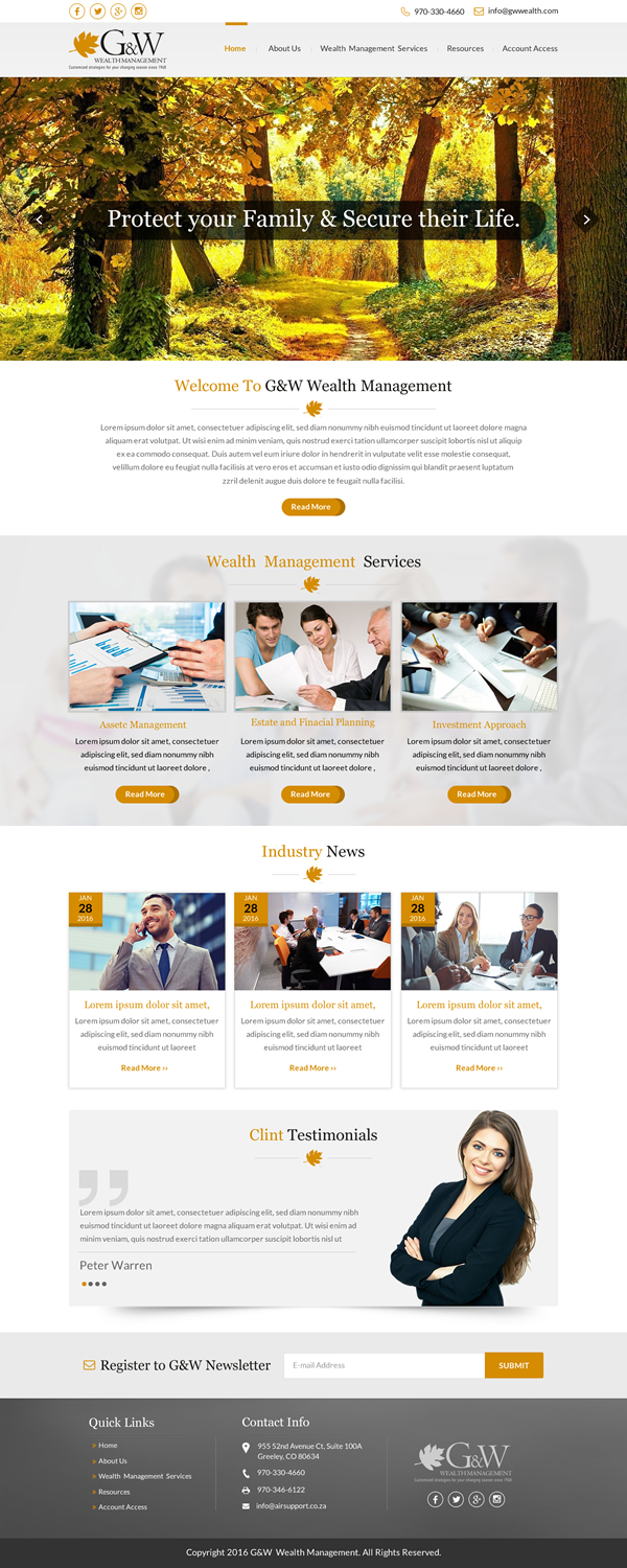 Conservative Upmarket Financial Planning Web Design For A Company By Sbss Design 9562591