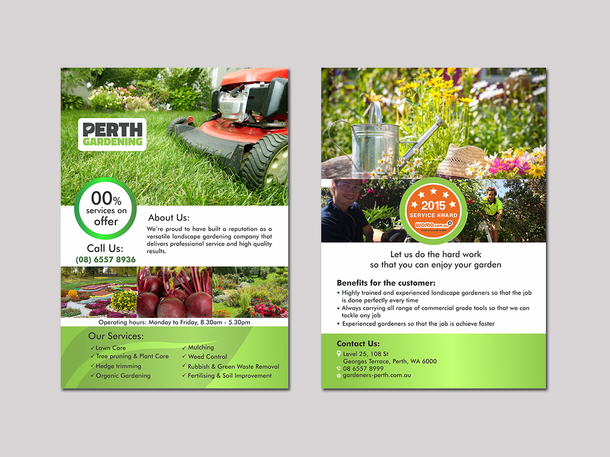Professional Serious Landscape Gardening Flyer Design For Perth