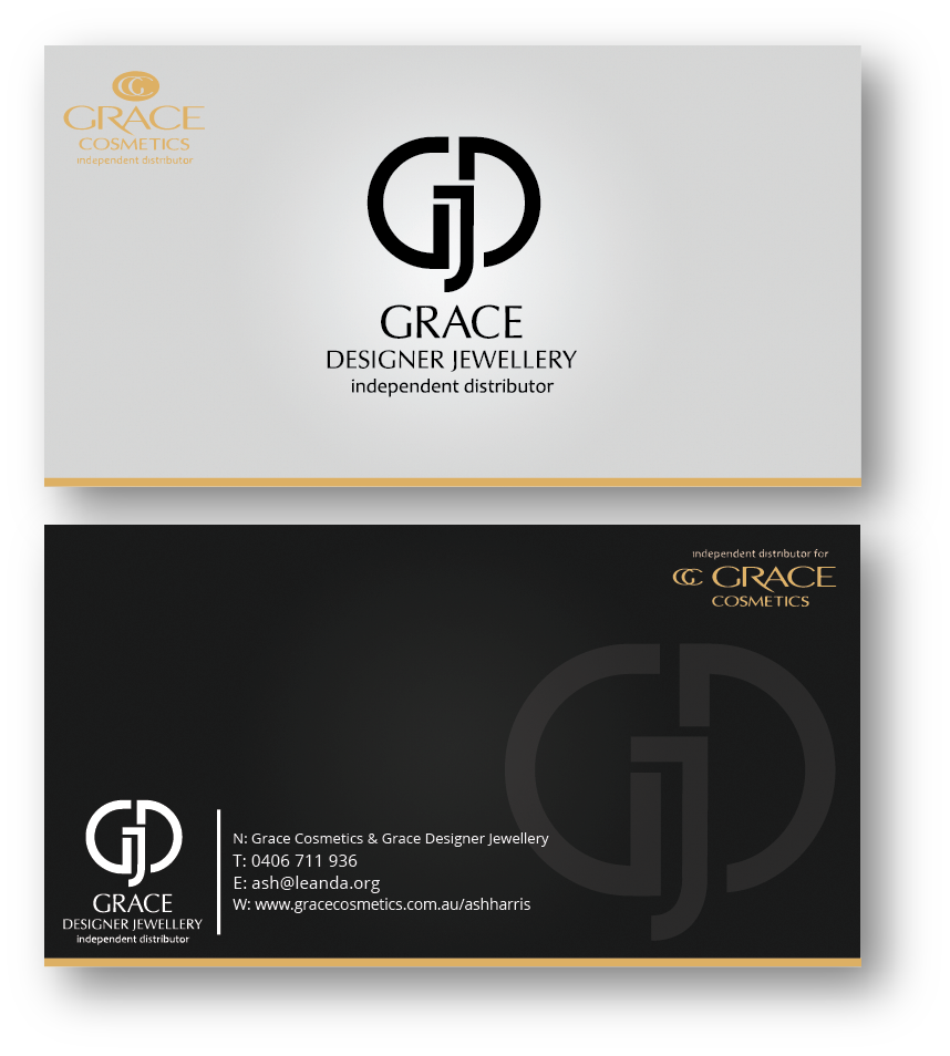Elegant upmarket business card design for ash harris by heygeorge business card design by heygeorge for grace cosmetics designer jewellery business card design colourmoves