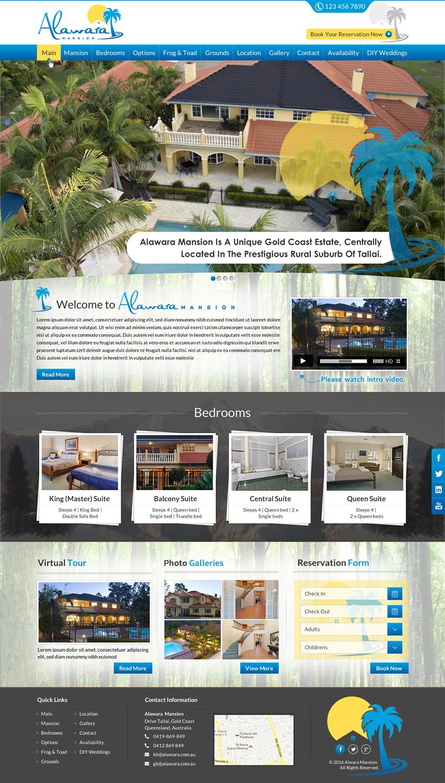 Elegant Playful Accommodation Web Design For Alawara Pty