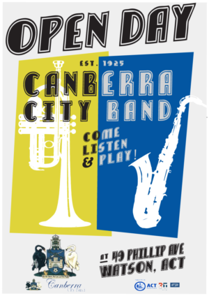 Poster design for canberra city band by designs by fikri