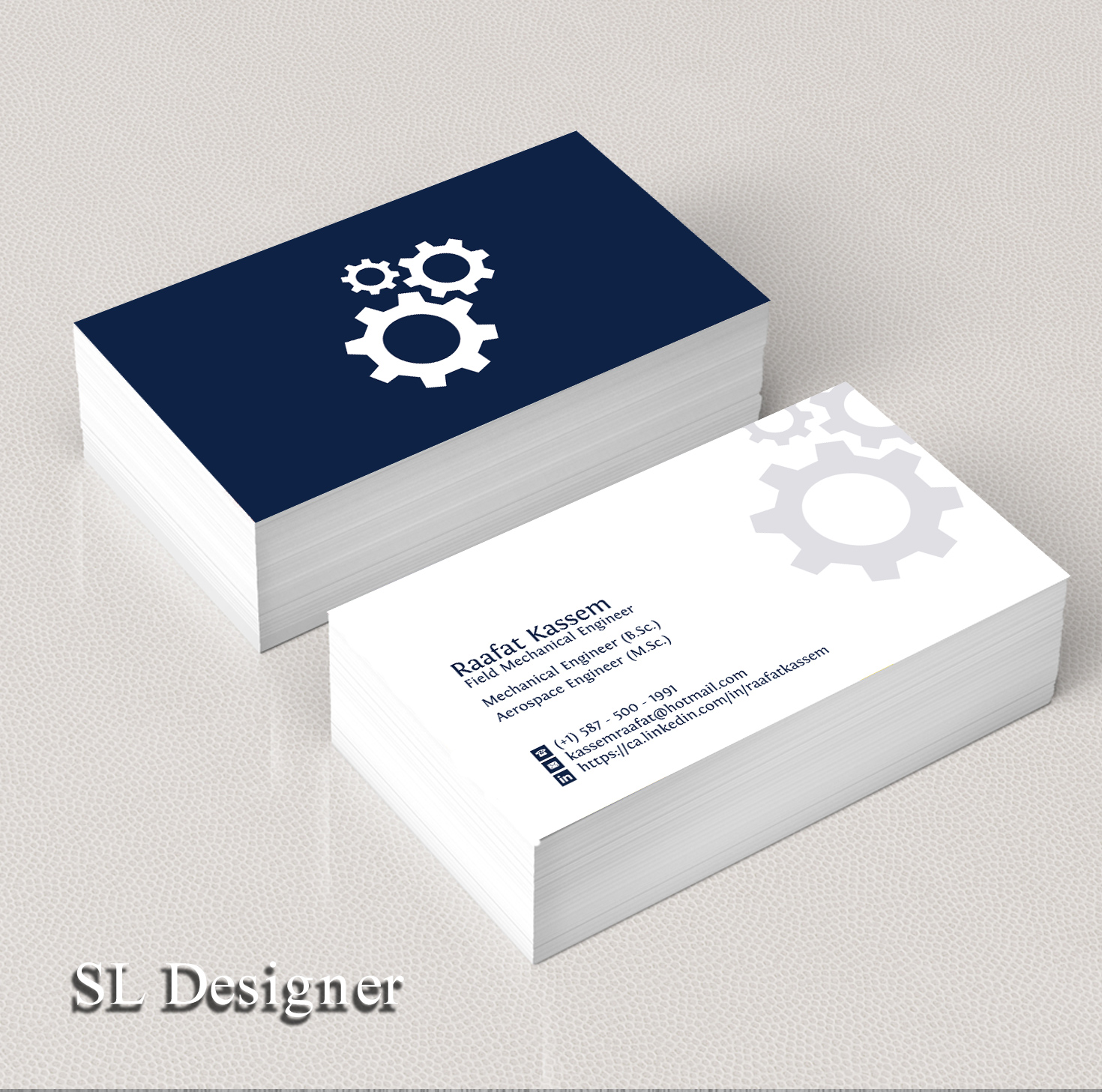 Elegant modern business card design for raafat kassem by sl business card design by sl designer for mechanical engineer business card design unemployed magicingreecefo Image collections